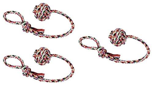 hundeinfo24.de 3 er Set Baumwollball am Seil Wurfball Schleuderball Hundespielzeug Bringsel Wurfspielzeug Apportierspielzeug Zerrspielzeug für Hunde Hundeball mit Wurfschlaufe Spielball Spielseil Spielzeug Zahnpflege