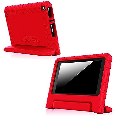 Fintie Fire 7 2015 Kiddie Custodia - Case Custodia Leggero Protettiva Antiurto con Maniglia convertibile Supporto per Bambini per Amazon Fire 7.0 pollici Display Tablet (5ª generazione - modello 2015), Rosso