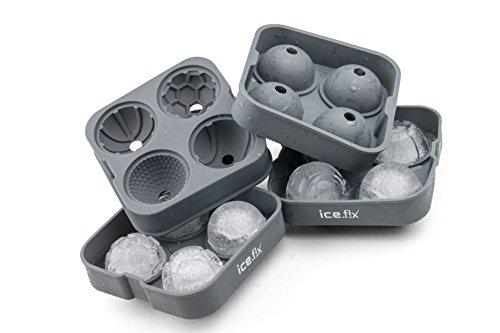 ICEFIX Iceballs Silikon Eiskugelform XXL - mit Befüllungstrichtern Ø 5cm (2x 4er) (Decor Frozen Cake)