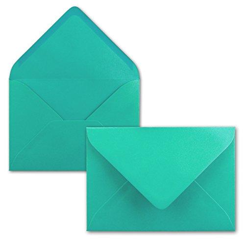 50x Briefumschläge B6 17,5 x 12,5 cm - Pazifikblau/Türkis - Nassklebung mit spitzer Klappe - 120 g/m² - Für Hochzeit, Gruß-Karten, Einladungen