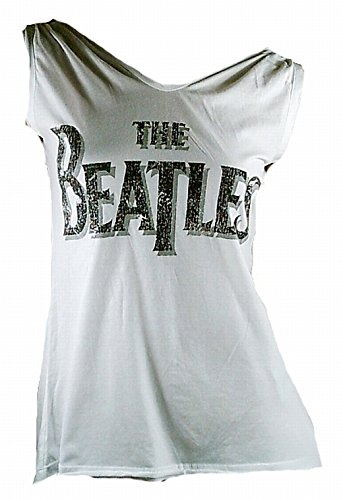 Amplificato Donna Lady Designer Top Shirt colore bianco Official The Beatles Merchandise scritta Logo Rock Star sweer ViP Rock Star bianco 42