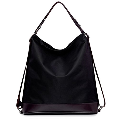 Millya - Bolso mochila de Nylon para mujer negro negro Talla única