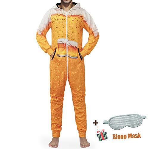 Morbuy Herren Jumpsuit Schlafanzug, Kapuzenpullover Strampelanzug 3D Printed Onepiece Sweatshirt Männer Strampler Weich Nachtwäsche Fitness Bekleidung Overall (L, Gelbes Bier)