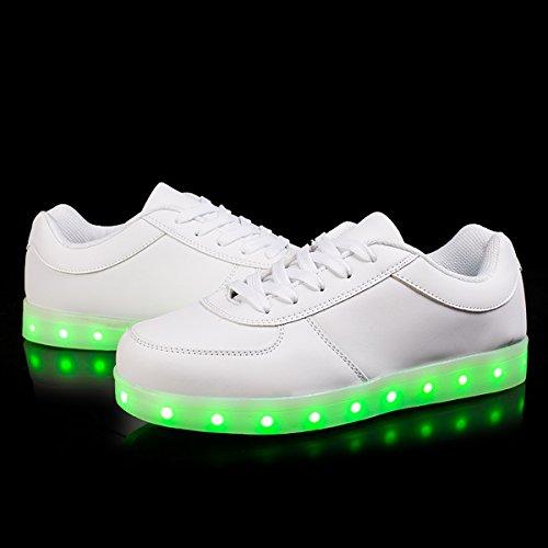 Joymoze Basket LED rechargeable pour hommes et femmes avec 7 couleurs Chaussures LED pour garçons et filles Blanc