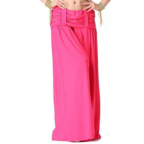de Hose Yoga Latein dehnbar Lycra Baumwolle Harem Hosen elastisch Taille Kleid Tänzer (Rosenrot) ()