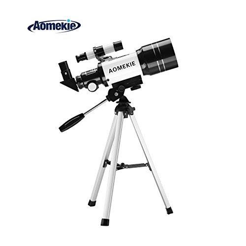 Aomekie Astronomisches Teleskop 70/300 Refraktor Teleskop Fernrohr mit Stativ Sucherfernrohr und 3X...