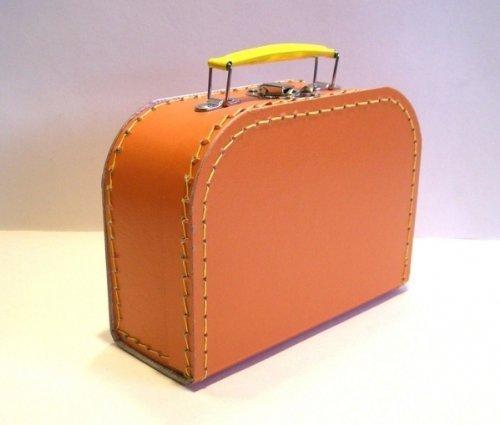 Koffer Pappe, orange, mittel, 20cm, Pappkoffer