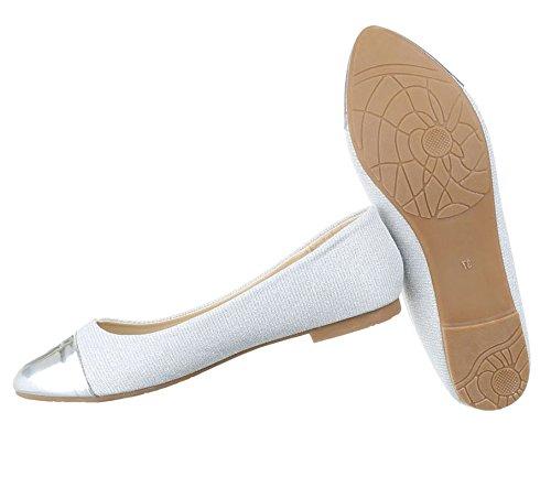 Damen Ballerinas Schuhe Flats Slipper Pumps Slip On Schwarz Blau Gold Rot  Silber 36 37 38 ... f2f3579cbc