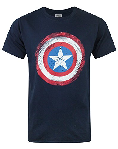 Official Captain America Distressed Shield Men's T-Shirt (L)