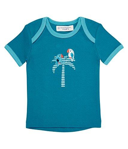 Sense Organics Baby - Jungen T-Shirt TILLY RETRO mit Schlupfkragen, All over print, Gr. 68 (Herstellergröße: 3M), Türkis (turquoise 500013)