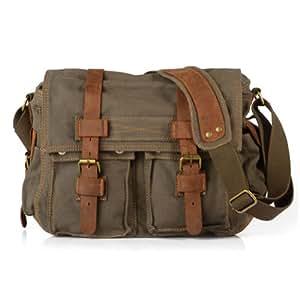 ... Daditong Men s Vintage Canvas School Military Shoulder Bag Messenger Bag  (Army 1520c3ba6