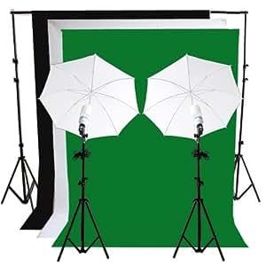 RPGT® Hintergrundsystem 2 x 2,8m mit Hintergrundstoff weiss weiß Grün Schwarz Screen 1,6 x 3 m Fotolampe Stativ Reflexschirm Set