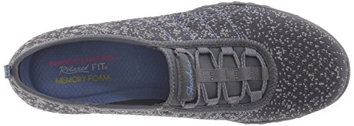 Skechers Breathe-easy meadows, Baskets Basses femme Charcoal/Gray Mesh/Periwinkle Trim
