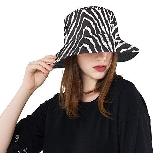 Xl Sombrero de pesca Negro Blanco Estampado de cebra Sin costura Verano Unisex Pesca Sol Top Bucket Sombreros para adolescentes Mujeres Gorra de pescador Deporte al aire libre Sombrero para el sol Dam