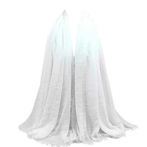 UJUNAOR Baumwolle Leinen Schal Muslim Solide Damen Islamischen Hanfstoff Kopftuch Kopfbedeckungen 180 * 90CM(F,One size)(F 3,One size)