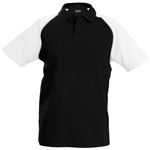 Kariban Baseball polo - Black/Light Grey/White