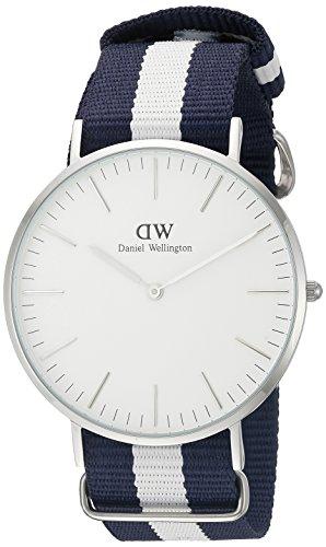 Daniel Wellington Glasgow Silver Men's Quartz Watch with White Dial Analogue Display and Multicolour Nylon Strap 0204DW