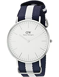 Daniel Wellington - 0204DW - Glasgow - Montre Mixte - Quartz Analogique - Cadran Argent - Bracelet Nylon Multicolore