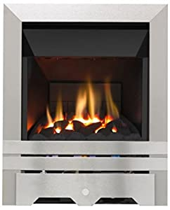 Lilliput High Efficiency Top Control Gas Fire - Brushed Steel