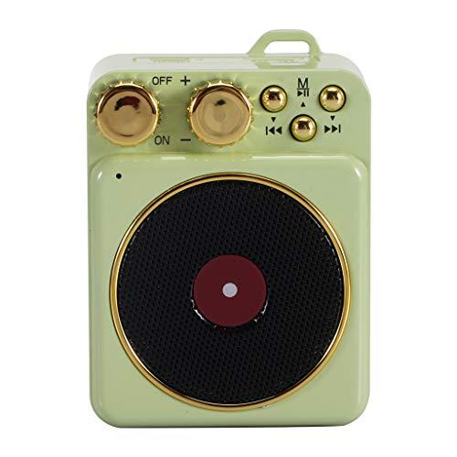 Laile Bluetooth-Lautsprecher T10 drahtloser tragbarer Retro-Plattenspieler Bluetooth 5.0 Audio-TF-Karte,Unterstützt A2DP, AVRCP, Handsfree-Profilprotokoll,Gönnen