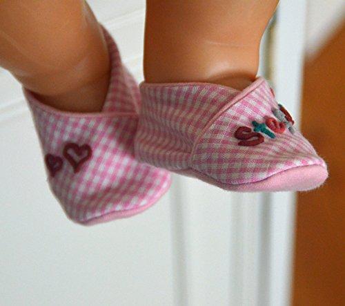 Geschenk-Set kleine Herzen rosa kariert, Erstlings-Set Babyschuhe mit Wärmekissen Herz, Set Baby Mädchen, personalisierte Geschenke, Mädchen Geschenke rosa kariert