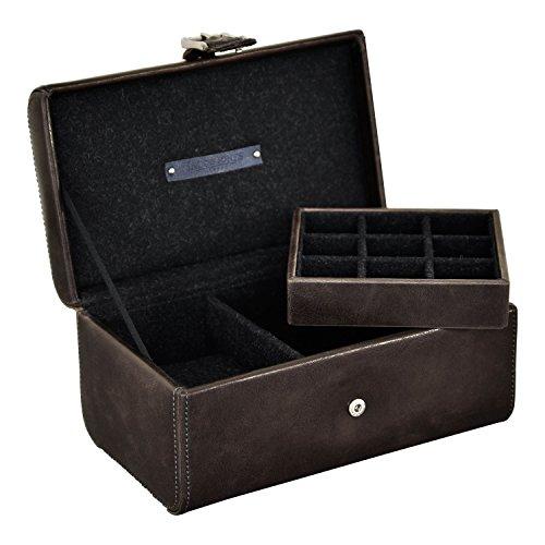 Carters of London Jacob Jones Watch and Cufflink Box - (Brown & Grey) B+