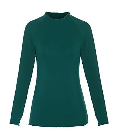ReliBeauty Damen Basic Langarmshirt Raglan Ärmel Mock Neck Oberteil Einfarbig T-Shirt Tunika Tops, Grün, 44