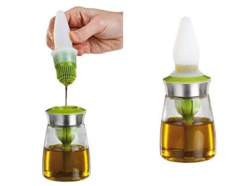 Silikon Backpinsel Ölpinsel Öl-Flasche Backzubehör (Backbürste, Ölbürste, Grill-Pinsel, Öl zum Einfetten)