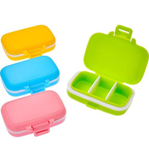 4 Stücke Pillen Dosen 3 Abnehmbare Fächer Kunststoff Wasserdichte Pill Box Fall Veranstalter Medizin Halter für Tägliche und Reise Verwenden, 4 Farben -