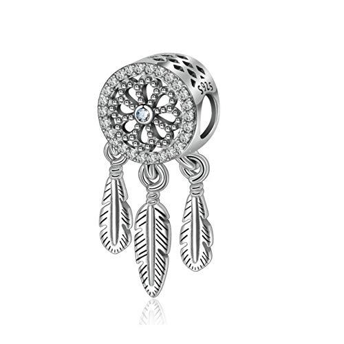 Abalorio de plata de ley 925 con diseño de atrapasueños y plumas para pulsera Pandora B