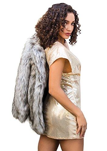 Leg Avenue 86594 - Paillettenkleid mit Tiefem V-Ausschnitt Vorn, Größe L, gold - 2