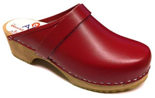 AM-Toffeln 100 sabots mules suedois en bois et cuir rouge Rouge