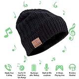 JIANYIJIA Musica Bluetooth Cappello,auricolare bluetooth Cappello Smart Bluetooth Music Hat Wireless per Smart phone iOS e Android (con velluto) Nero