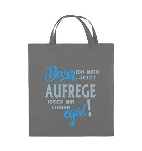 Comedy Bags - Bevor ich mich jetzt aufrege isses mir lieber egal! - Jutebeutel - kurze Henkel - 38x42cm - Farbe: Schwarz / Weiss-Neongrün Dunkelgrau / Eisblau-Blau