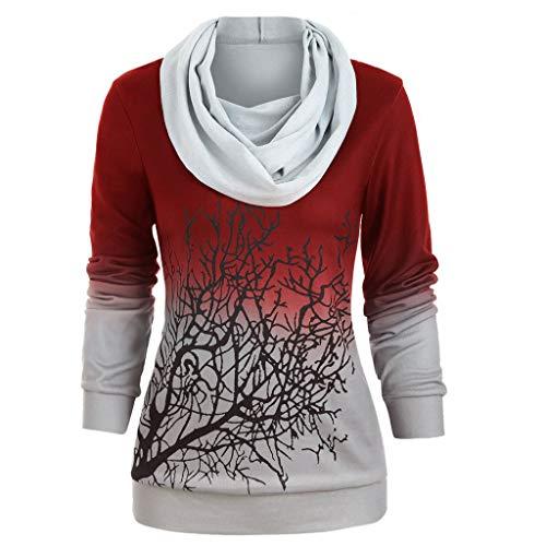 QIMANZI Sweatshirt Damen Frauen Langarmshirts Übergröße Halloween Drucken Cabrio Halsband Pullover Oberteil Tops(Rot,5XL)