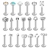 HOVEOX 20 Pieces Nose Studs Tragus Bars Labret Bars Piercing Stainless Steel Labret Monroe Lip Ring Studs Tragus Studs (Silver, 16 Gauge)