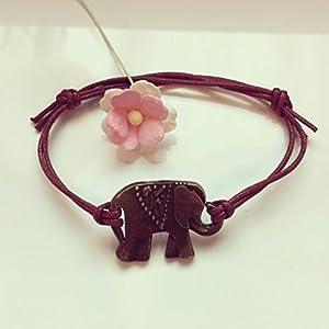 Elefant Armband in Bordeaux-Rot Bronze Größenverstellbar, elephant / vintage / ethno / hippie / must have / statement / florabella schmuck