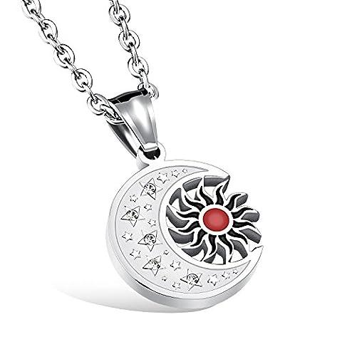 Fate Love Bijoux Cadeau de Noël en acier inoxydable Rouge Soleil croissant pendentif collier Talisman 49,8cm -unisex