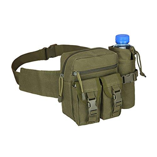 FUCNEN Army Hüfttasche Military Fanny Pack Bauchtasche mit Tactical Wasser Flasche Tasche MOLLE Inhaber Outdoor Wasserdicht Trekking Wandern Gürteltasche, armee-grün (Fanny-packs Wasser-flaschen)
