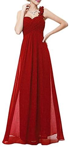 Une épaule Flower Chiffon Empire Floor Length Prom Evening Robe de maternité nuptialeBordeux40