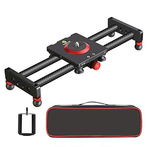 Koolertron Slider Track Carbonfaser Kameraschiene Videoschiene, 11,8 Zoll/30 cm mit 4 Lager Handy Slider Dolly für Smartphone, DSLR Kamera, Camcorder, Belastbarkeit bis 5kg 3 Slider-handy