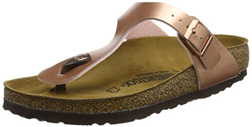 BIRKENSTOCK Damen Gizeh Zehentrenner, Pink (Soft Metallic Rose Gold Soft Metallic Rose Gold), 35 EU