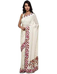 Talking Threads Crepe Saree with Blouse Piece (TT-12057SAPWCRE_Ivory_Free Size)