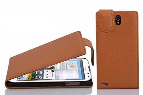 Cadorabo Hülle für Huawei ASCEND G610 - Hülle in COGNAC BRAUN – Handyhülle aus strukturiertem Kunstleder im Flip Design - Case Cover Schutzhülle Etui Tasche