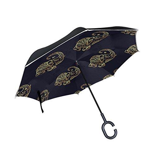 Mnsruu Paraguas invertido de Doble Capa con patrón de Elefante Dorado, Paraguas Plegable con protección UV para Uso en Coche, Lluvia al Aire Libre con Mango en Forma de C
