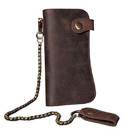 Echtes Leder Lange Brieftasche mit Reißverschluss Tasche Vintage Bifold Scheckheft Geldbörse(Chain Wallet) -