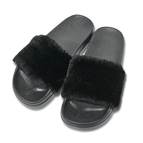 Coface pantofole da donna morbide sandali piatti in eva con morbida pelliccia sintetica,black-40