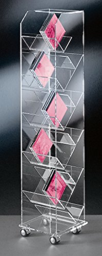 Hochwertiger Acryl-Glas CD BLU-RAY DVD Ständer / CD BLU-RAY DVD Regal / CD BLU-RAY DVD Aufbewahrung, mit 4 verchromten Rollen, klar, Außenmaße 33 x 33 cm, H 115 cm, Acryl-Glas-Stärke 10 / 6 / 4 mm (33% Acryl)