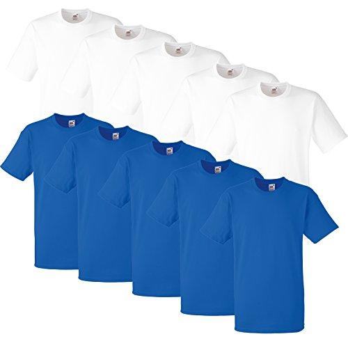 10 Fruit of the loom T Shirts Heavy Cotton M L XL XXL Diverse Farben auswählbar 5Weiß/5Royal