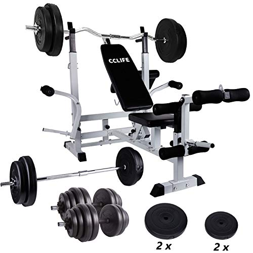 CCLIFE Multifunktions Trainingsstation Hantelbank mit 75/105kg Gewichten Hantelset Trainingsbank Kraftstation Bankdrücken Fitnessbank, Farbe:105KG: Langhantel 30kg + Curl-Hantel 30kg + 2x15kg Kurzhantel+ 2